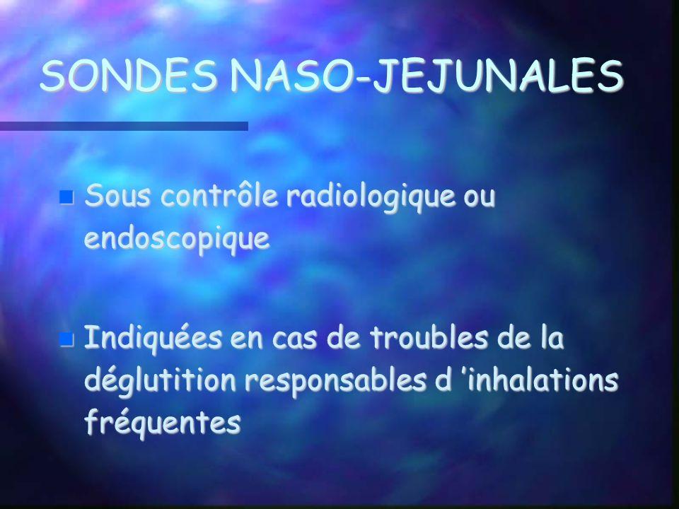 SONDES NASO-JEJUNALES Sous contrôle radiologique ou endoscopique Sous contrôle radiologique ou endoscopique Indiquées en cas de troubles de la dégluti