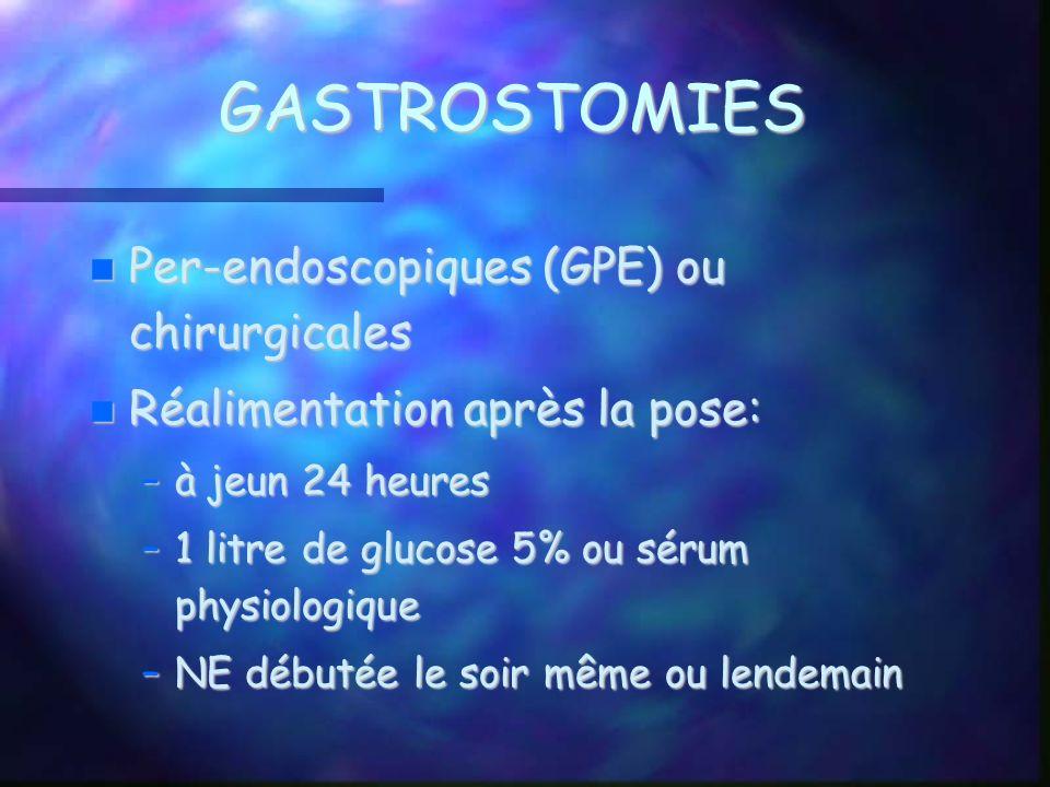 GASTROSTOMIES Per-endoscopiques (GPE) ou chirurgicales Per-endoscopiques (GPE) ou chirurgicales Réalimentation après la pose: Réalimentation après la