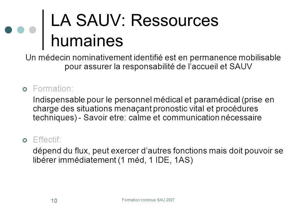 Formation continue SAU 2007 10 LA SAUV: Ressources humaines Un médecin nominativement identifié est en permanence mobilisable pour assurer la responsa