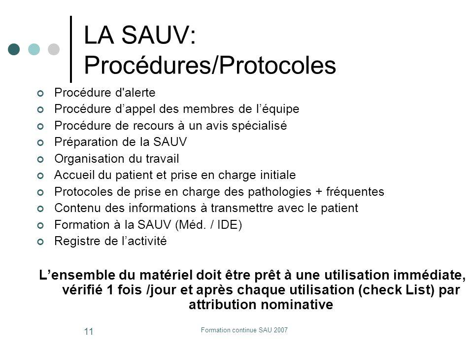 Formation continue SAU 2007 11 LA SAUV: Procédures/Protocoles Procédure d'alerte Procédure dappel des membres de léquipe Procédure de recours à un avi