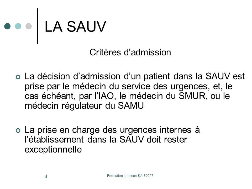 Formation continue SAU 2007 4 LA SAUV Critères dadmission La décision dadmission dun patient dans la SAUV est prise par le médecin du service des urge