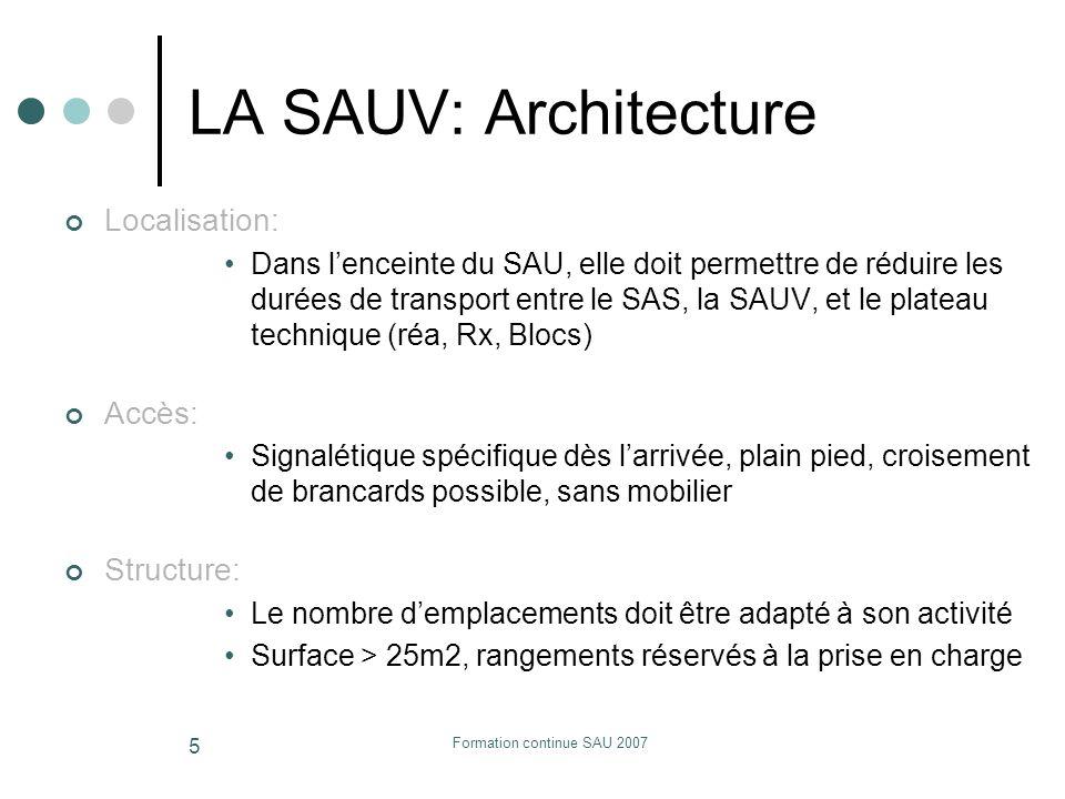 Formation continue SAU 2007 5 LA SAUV: Architecture Localisation: Dans lenceinte du SAU, elle doit permettre de réduire les durées de transport entre