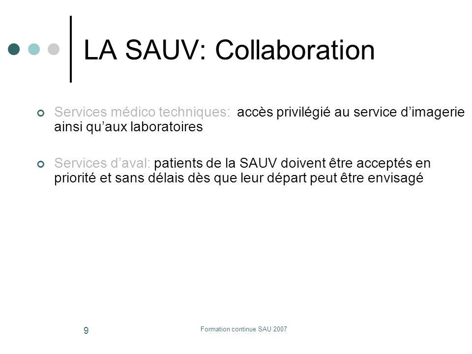 Formation continue SAU 2007 9 LA SAUV: Collaboration Services médico techniques: accès privilégié au service dimagerie ainsi quaux laboratoires Servic