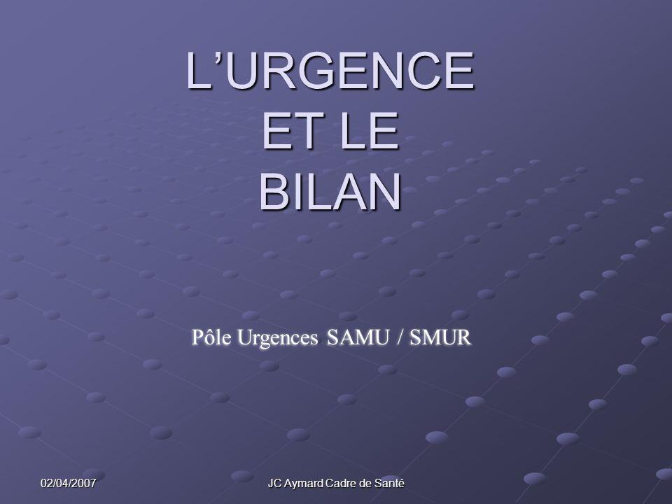 02/04/2007 JC Aymard Cadre de Santé LURGENCE ET LE BILAN Pôle Urgences SAMU / SMUR
