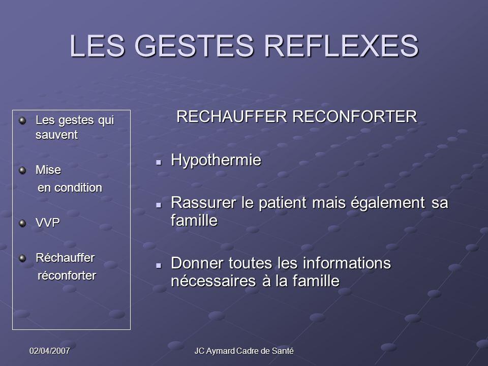 02/04/2007JC Aymard Cadre de Santé LES GESTES REFLEXES Les gestes qui sauvent Mise en condition en conditionVVPRéchauffer réconforter réconforter RECH