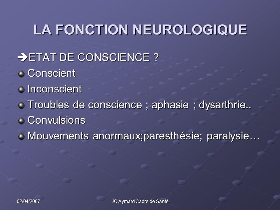 02/04/2007JC Aymard Cadre de Santé LA FONCTION NEUROLOGIQUE ETAT DE CONSCIENCE ? ETAT DE CONSCIENCE ?ConscientInconscient Troubles de conscience ; aph