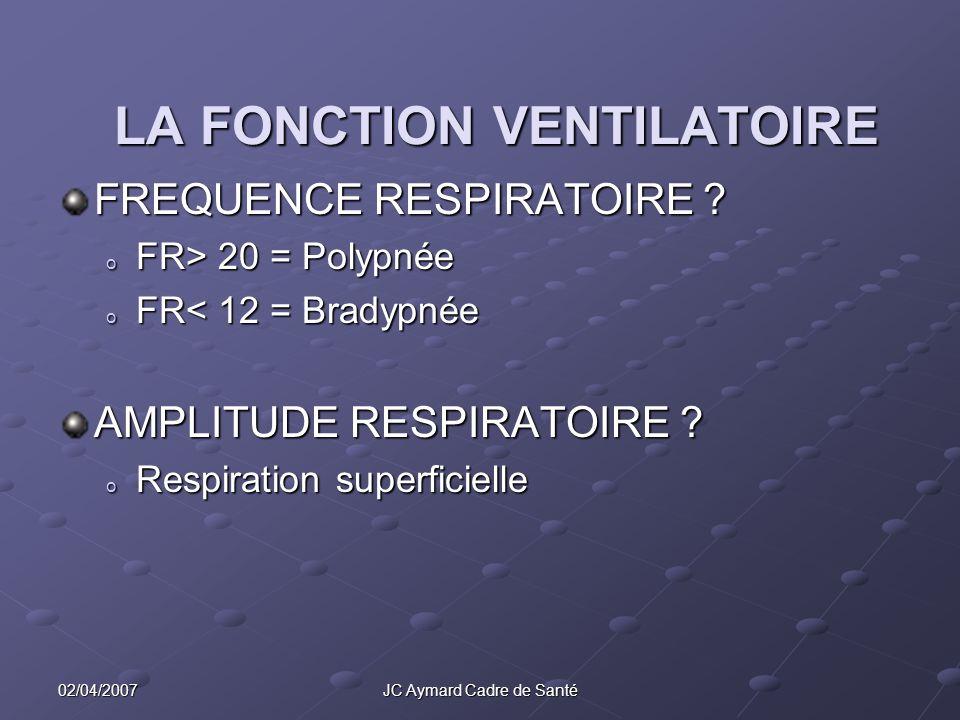 02/04/2007JC Aymard Cadre de Santé LA FONCTION VENTILATOIRE FREQUENCE RESPIRATOIRE ? o FR> 20 = Polypnée o FR< 12 = Bradypnée AMPLITUDE RESPIRATOIRE ?