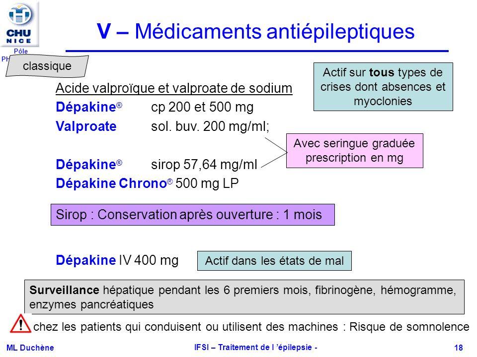 Pôle PHARMACIE ML Duchène IFSI – Traitement de l épilepsie - 18 V – Médicaments antiépileptiques Acide valproïque et valproate de sodium Dépakine ® cp