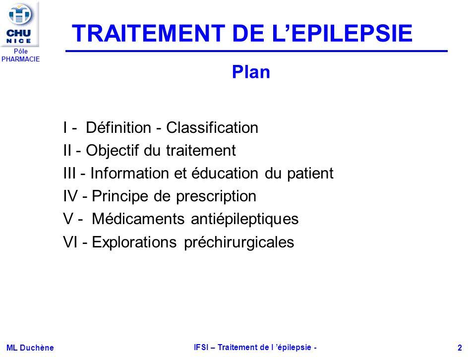 Pôle PHARMACIE ML Duchène IFSI – Traitement de l épilepsie - 2 I - Définition - Classification II - Objectif du traitement III - Information et éducat