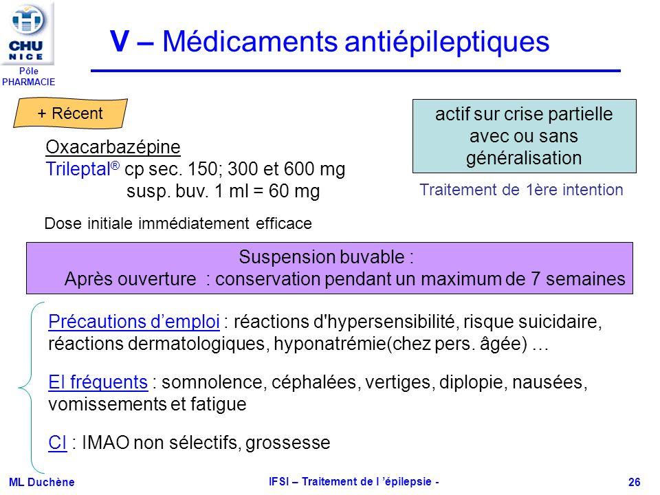 Pôle PHARMACIE ML Duchène IFSI – Traitement de l épilepsie - 26 Oxacarbazépine Trileptal ® cp sec. 150; 300 et 600 mg susp. buv. 1 ml = 60 mg CI : IMA