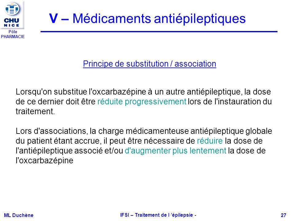 Pôle PHARMACIE ML Duchène IFSI – Traitement de l épilepsie - 27 V – Médicaments antiépileptiques Lorsqu'on substitue l'oxcarbazépine à un autre antiép