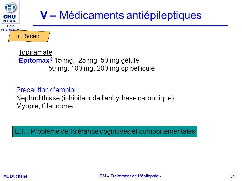 Pôle PHARMACIE ML Duchène IFSI – Traitement de l épilepsie - 34 E.I. : Problème de tolérance cognitives et comportementales Topiramate Epitomax ® 15 m