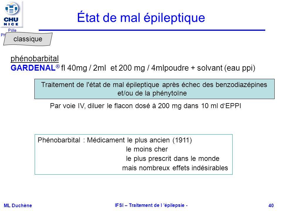 Pôle PHARMACIE ML Duchène IFSI – Traitement de l épilepsie - 40 phénobarbital GARDENAL ® fl 40mg / 2ml et 200 mg / 4mlpoudre + solvant (eau ppi) Trait