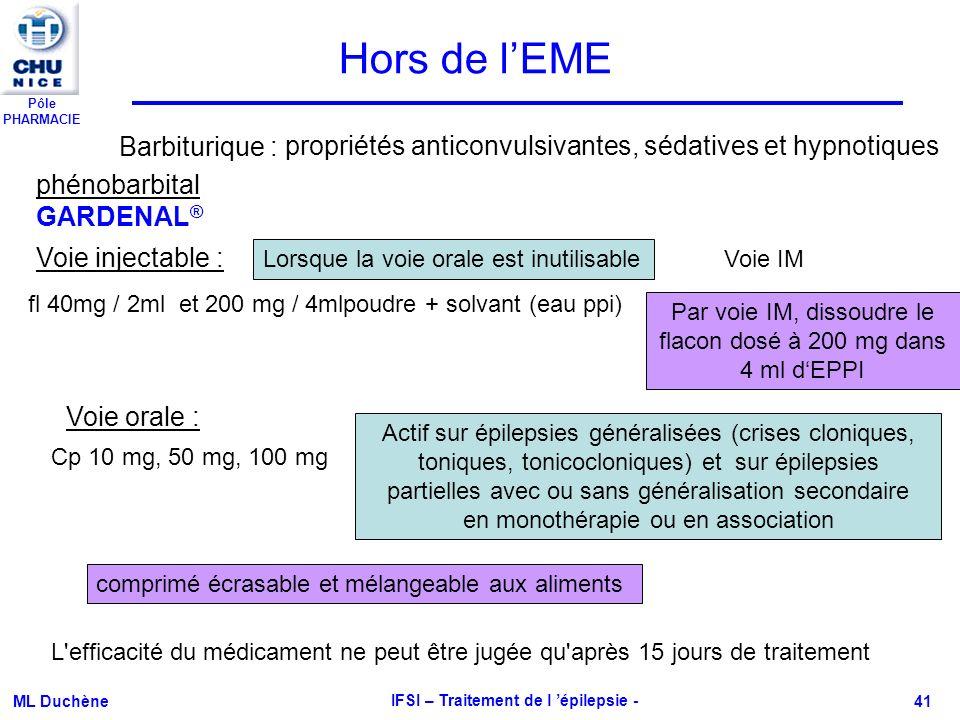 Pôle PHARMACIE ML Duchène IFSI – Traitement de l épilepsie - 41 phénobarbital GARDENAL ® Hors de lEME fl 40mg / 2ml et 200 mg / 4mlpoudre + solvant (e