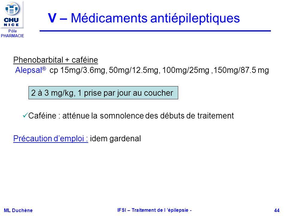 Pôle PHARMACIE ML Duchène IFSI – Traitement de l épilepsie - 44 Alepsal ® cp 15mg/3.6mg, 50mg/12.5mg, 100mg/25mg,150mg/87.5 mg Phenobarbital + caféine
