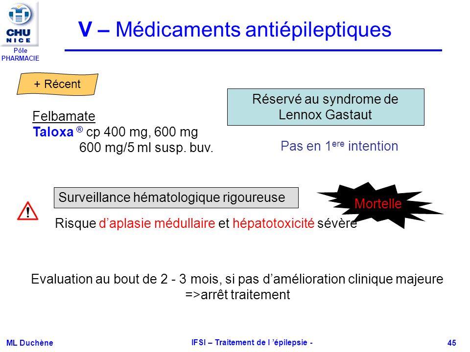 Pôle PHARMACIE ML Duchène IFSI – Traitement de l épilepsie - 45 Felbamate Taloxa ® cp 400 mg, 600 mg 600 mg/5 ml susp. buv. + Récent V – Médicaments a