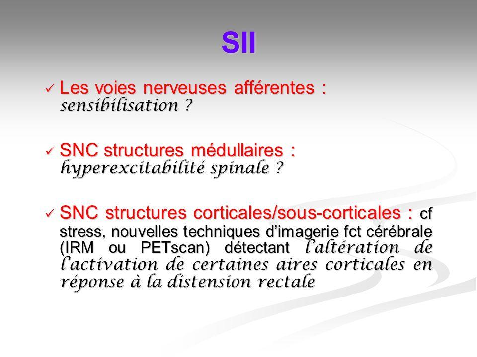 SII Les voies nerveuses afférentes : sensibilisation ? Les voies nerveuses afférentes : sensibilisation ? SNC structures médullaires : hyperexcitabili