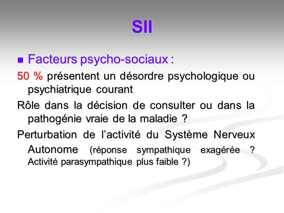 SII Facteurs psycho-sociaux : Facteurs psycho-sociaux : 50 % présentent un désordre psychologique ou psychiatrique courant Rôle dans la décision de co