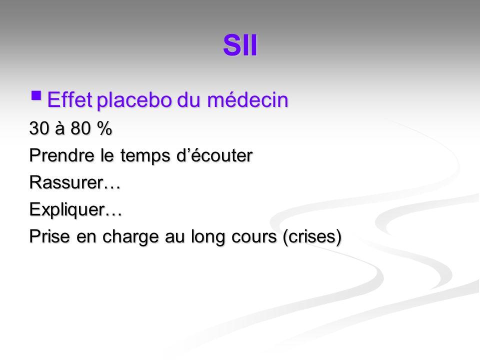 SII Effet placebo du médecin Effet placebo du médecin 30 à 80 % Prendre le temps découter Rassurer…Expliquer… Prise en charge au long cours (crises)