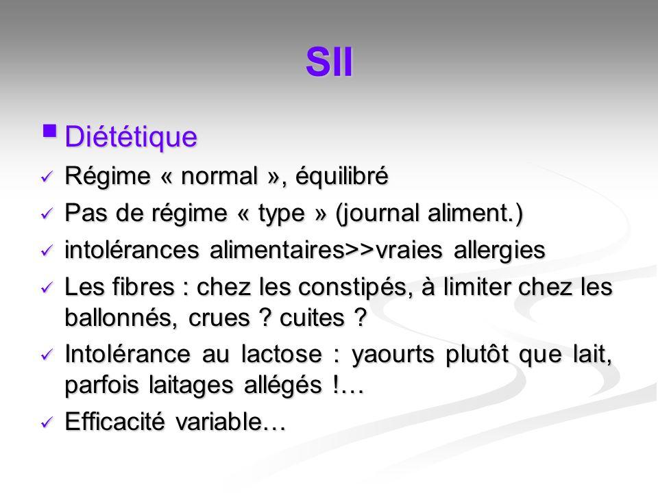 SII Diététique Diététique Régime « normal », équilibré Régime « normal », équilibré Pas de régime « type » (journal aliment.) Pas de régime « type » (
