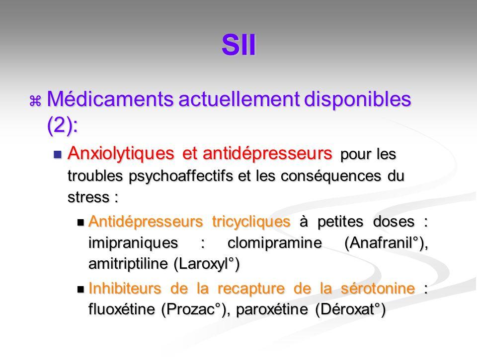 SII Médicaments actuellement disponibles (2): Médicaments actuellement disponibles (2): Anxiolytiques et antidépresseurs pour les troubles psychoaffec
