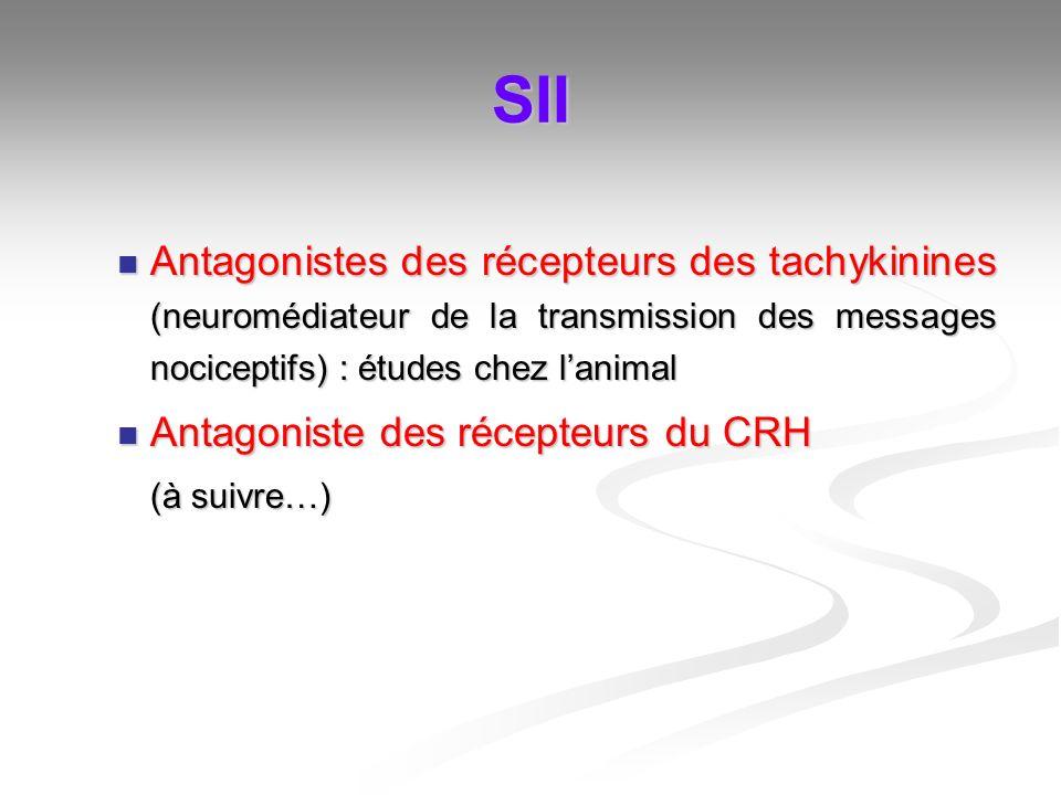 SII Antagonistes des récepteurs des tachykinines (neuromédiateur de la transmission des messages nociceptifs) : études chez lanimal Antagonistes des r