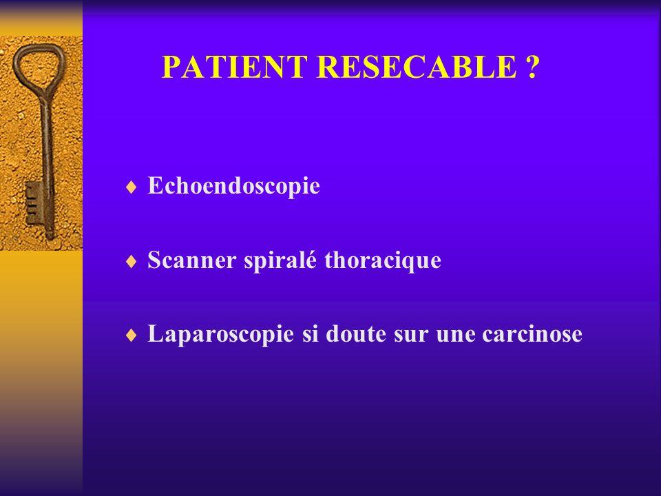 PATIENT RESECABLE ? Echoendoscopie Scanner spiralé thoracique Laparoscopie si doute sur une carcinose