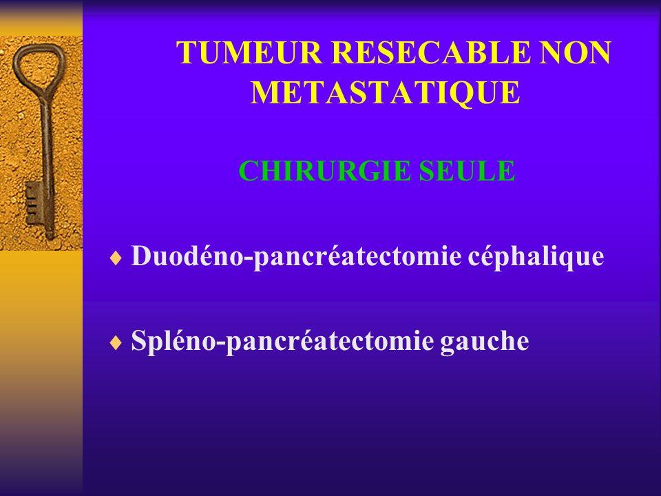 TUMEUR RESECABLE NON METASTATIQUE CHIRURGIE SEULE Duodéno-pancréatectomie céphalique Spléno-pancréatectomie gauche