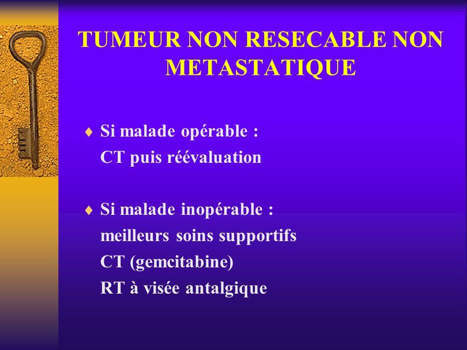 TUMEUR NON RESECABLE NON METASTATIQUE Si malade opérable : CT puis réévaluation Si malade inopérable : meilleurs soins supportifs CT (gemcitabine) RT