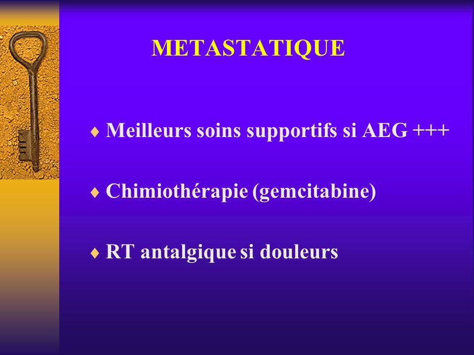 METASTATIQUE Meilleurs soins supportifs si AEG +++ Chimiothérapie (gemcitabine) RT antalgique si douleurs