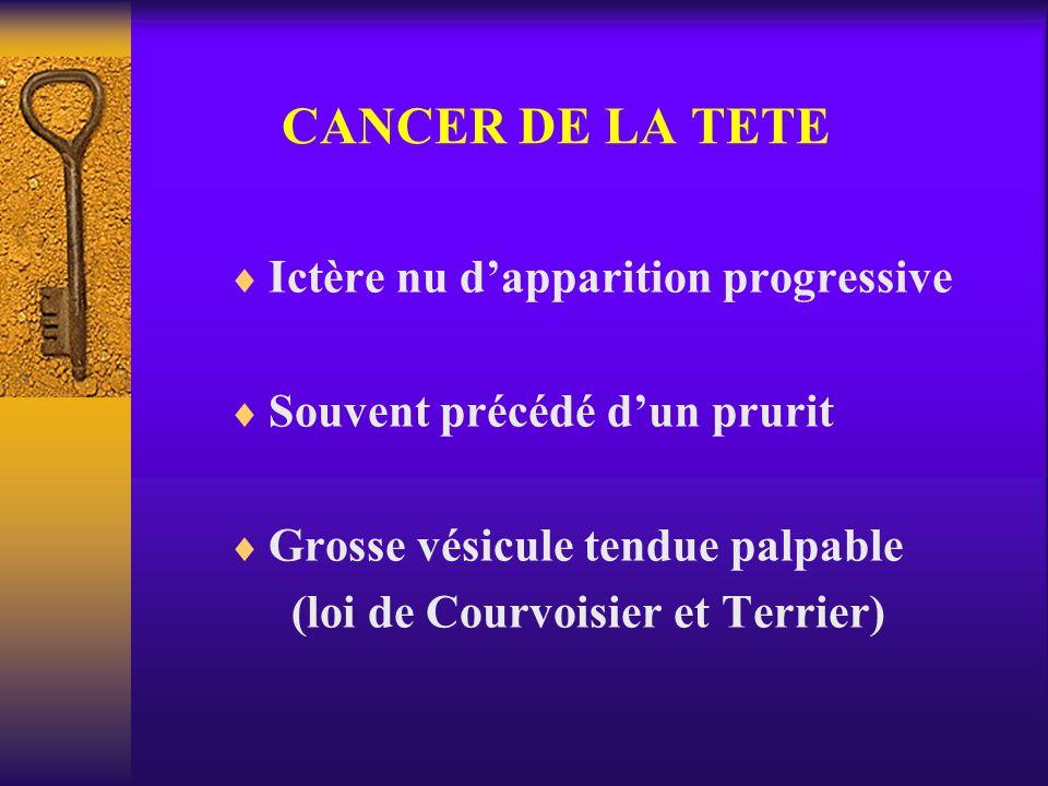 CANCER DE LA TETE Ictère nu dapparition progressive Souvent précédé dun prurit Grosse vésicule tendue palpable (loi de Courvoisier et Terrier)