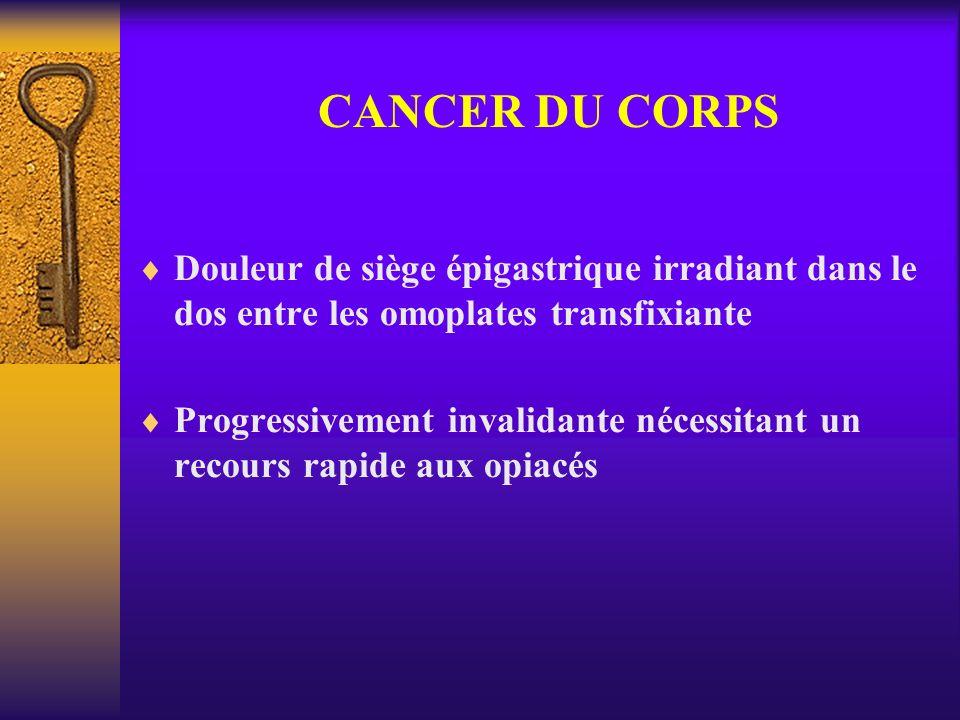 CANCER DU CORPS Douleur de siège épigastrique irradiant dans le dos entre les omoplates transfixiante Progressivement invalidante nécessitant un recou