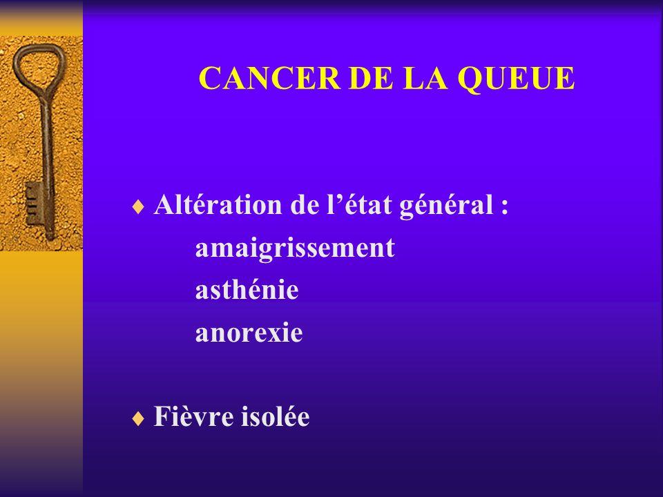 CANCER DE LA QUEUE Altération de létat général : amaigrissement asthénie anorexie Fièvre isolée