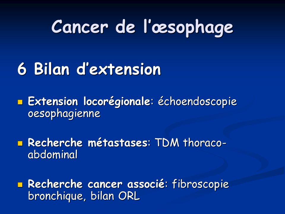 Cancer de lœsophage 6 Bilan dextension Extension locorégionale: échoendoscopie oesophagienne Extension locorégionale: échoendoscopie oesophagienne Rec