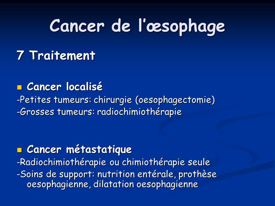 Cancer de lœsophage 7 Traitement Cancer localisé Cancer localisé -Petites tumeurs: chirurgie (oesophagectomie) -Grosses tumeurs: radiochimiothérapie C