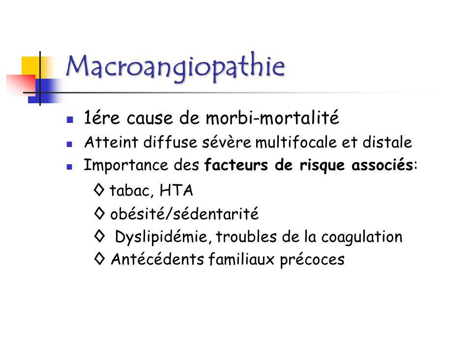 Macroangiopathie cœur et diabète Coronaropathie: + fréquente, + grave ( 2 à 3 et 3 à 5 ) Contrôle glycémique strict et précoce.