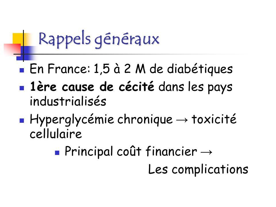 Complications: Métaboliques: Acido-cétose, coma hyperosmolaire, Acidose lactique hypoglycémies.