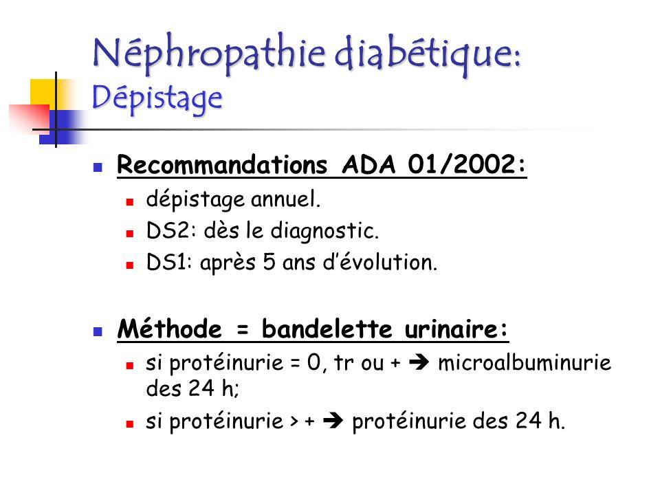 Néphroprotection: rôle des « inhibiteurs de lenzyme de conversion » (IEC) ou « antagonistes des récepteurs de langiotensine » (SARTANS): indépendamment de leffet anti-HTA; régression parfois complète de la néphropathie; traitement efficace dune HTA (< 125/70 mmHg); Au stade de linsuffisance rénale: suppléance (hémodialyse ou dialyse péritonéale); greffe rénale préemptive.