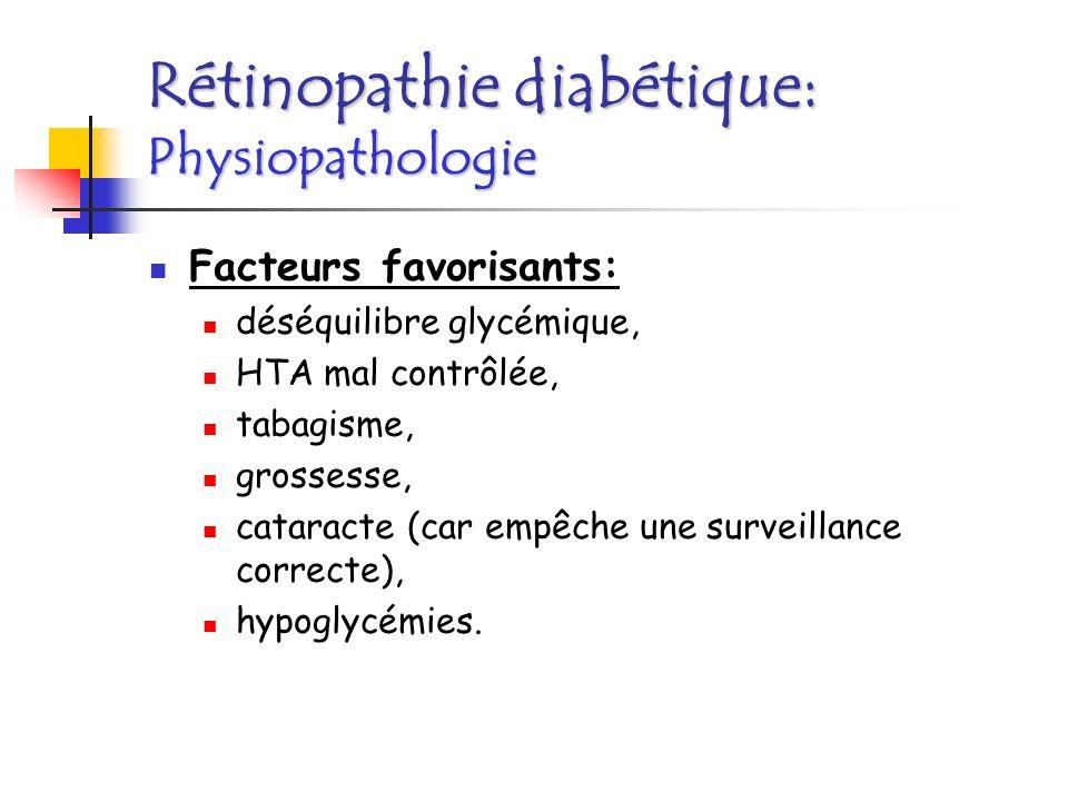 Rétinopathie diabétique: Classification Trois stades: Pas de RD; RD non proliférative; RD proliférative: présence de néovaisseaux; complications possibles: hémorragie intra-vitréenne, glaucome néovasculaire, décollement de rétine par traction Maculopathie: œdème localisé ou diffus.
