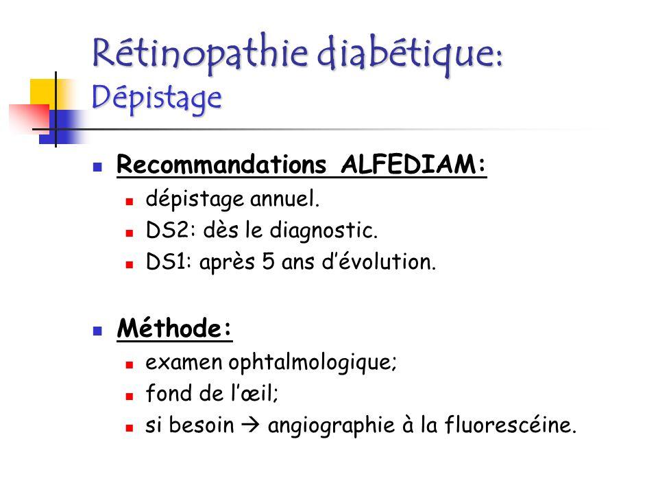 « Rétino »-protection: équilibre glycémique; traitement anti-HTA efficace; Laser Argon: focalisé ou généralisé; Médicaments: IEC .