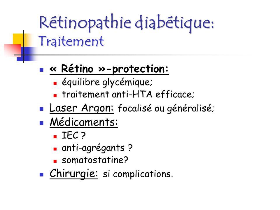 « Rétino »-protection: équilibre glycémique; traitement anti-HTA efficace; Laser Argon: focalisé ou généralisé; Médicaments: IEC ? anti-agrégants ? so