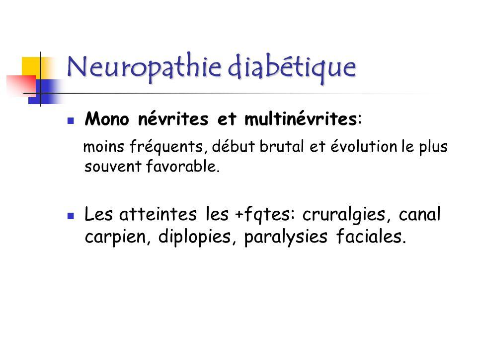 Neuropathie diabétique La neuropathie végétative: gastroparésie, diarrhée motrice, vessie neurogène, tachycardie, hypotension orthostatique, impuissance,, hypersudation.