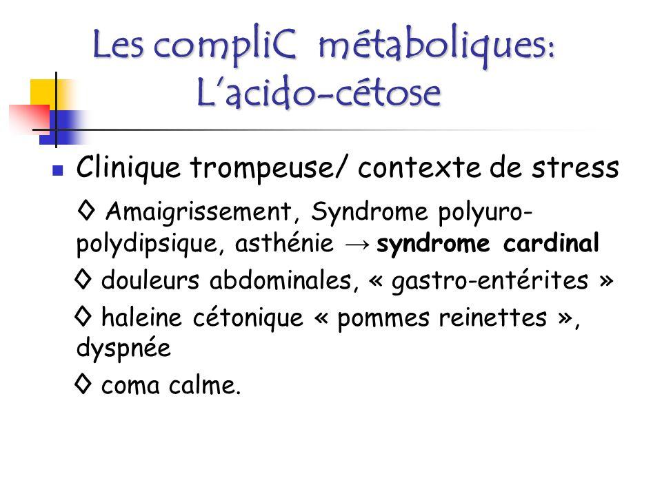 Les compliC métaboliques: Lacido-cétose Urgence Réanimation Insuline IV, potassium, réhydratation Rechercher la cause Surveillance +++