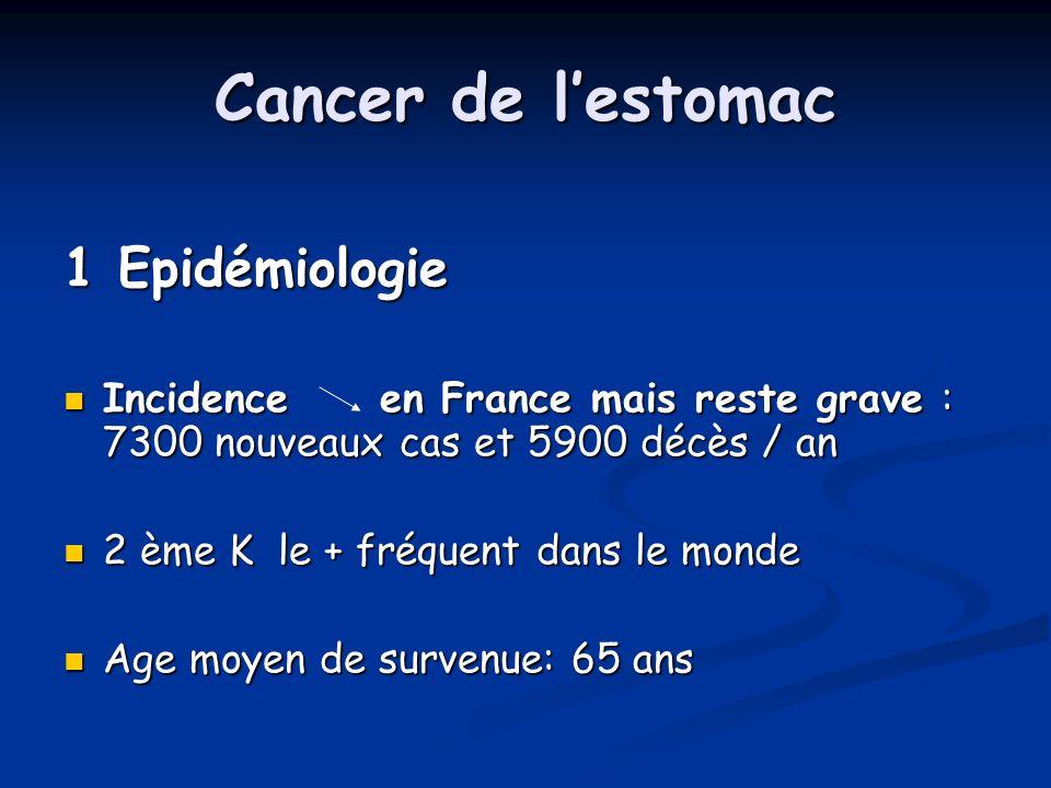 Cancer de lestomac 1 Epidémiologie Incidence en France mais reste grave : 7300 nouveaux cas et 5900 décès / an Incidence en France mais reste grave : 7300 nouveaux cas et 5900 décès / an 2 ème K le + fréquent dans le monde 2 ème K le + fréquent dans le monde Age moyen de survenue: 65 ans Age moyen de survenue: 65 ans