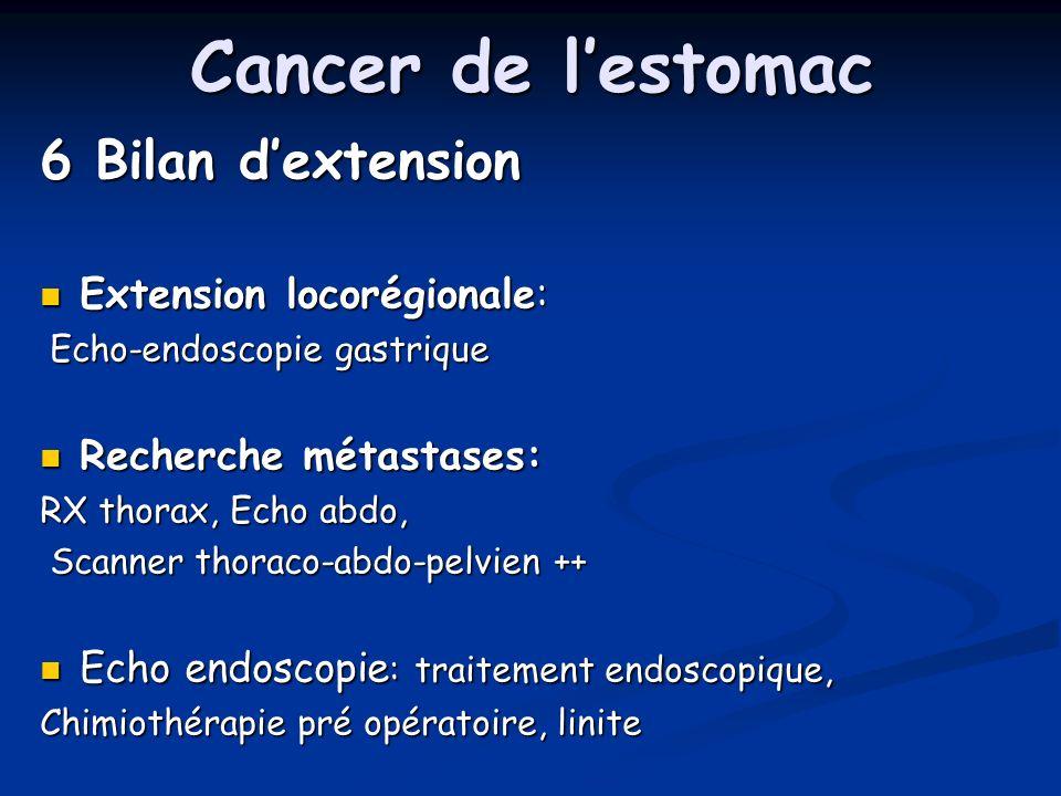 Cancer de lestomac 6 Bilan dextension Extension locorégionale: Extension locorégionale: Echo-endoscopie gastrique Echo-endoscopie gastrique Recherche métastases: Recherche métastases: RX thorax, Echo abdo, Scanner thoraco-abdo-pelvien ++ Scanner thoraco-abdo-pelvien ++ Echo endoscopie : traitement endoscopique, Echo endoscopie : traitement endoscopique, Chimiothérapie pré opératoire, linite