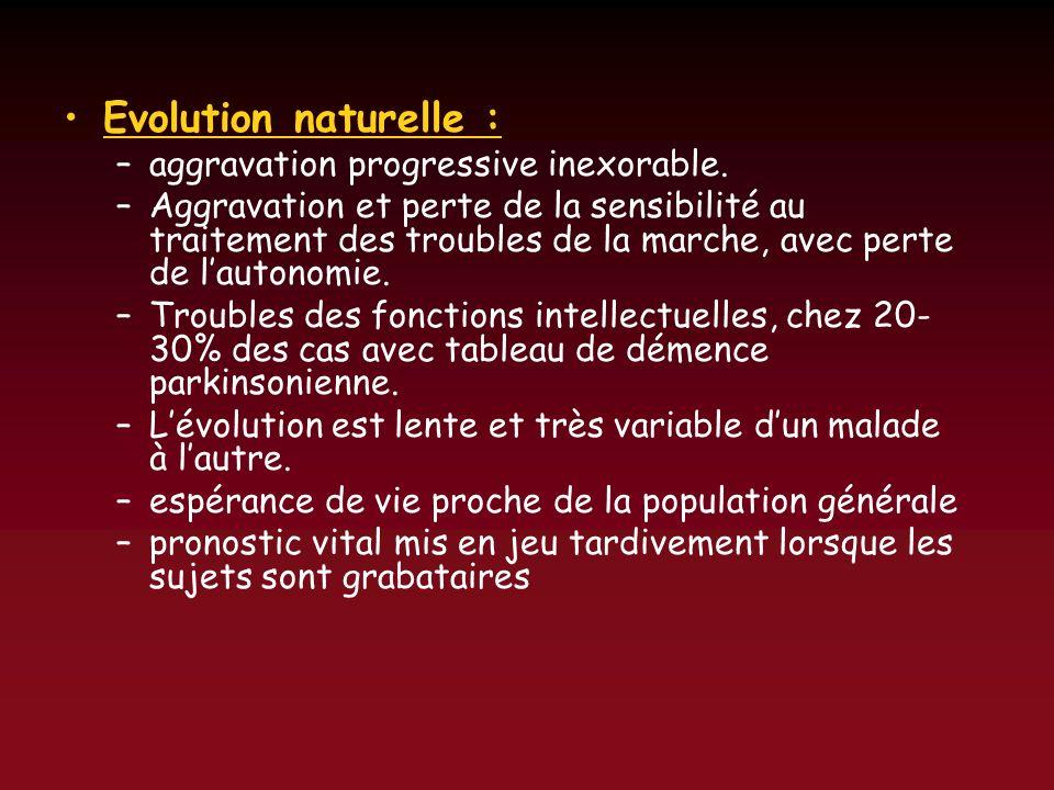 Evolution naturelle : –aggravation progressive inexorable. –Aggravation et perte de la sensibilité au traitement des troubles de la marche, avec perte