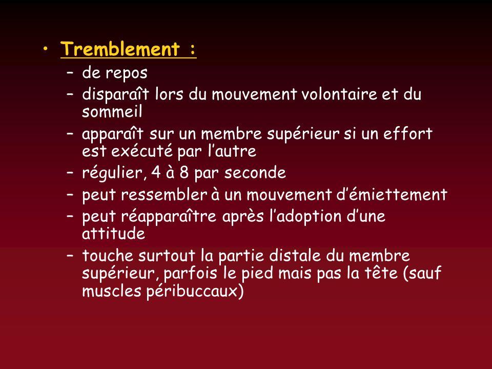 Tremblement : –de repos –disparaît lors du mouvement volontaire et du sommeil –apparaît sur un membre supérieur si un effort est exécuté par lautre –r