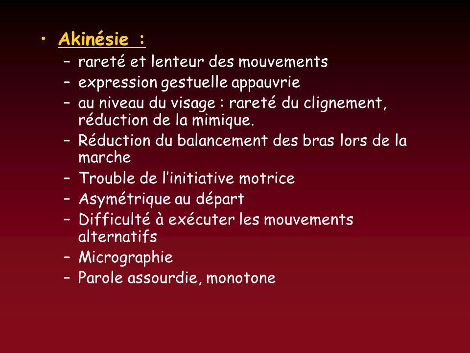 Akinésie : –rareté et lenteur des mouvements –expression gestuelle appauvrie –au niveau du visage : rareté du clignement, réduction de la mimique. –Ré