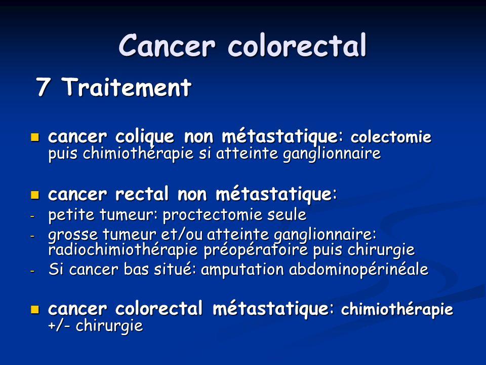 Cancer colorectal 7 Traitement 7 Traitement cancer colique non métastatique: colectomie puis chimiothérapie si atteinte ganglionnaire cancer colique n