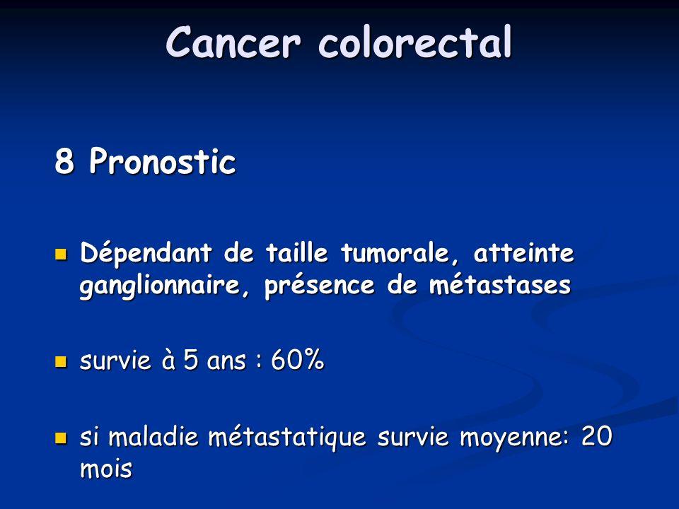 Cancer colorectal 8 Pronostic Dépendant de taille tumorale, atteinte ganglionnaire, présence de métastases Dépendant de taille tumorale, atteinte gang